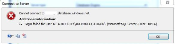 Azure SQL DB – Login failed for user NT AUTHORITY\ANONYMOUS